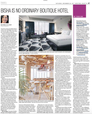 Montreal Gazette features Bisha Hotel Toronto