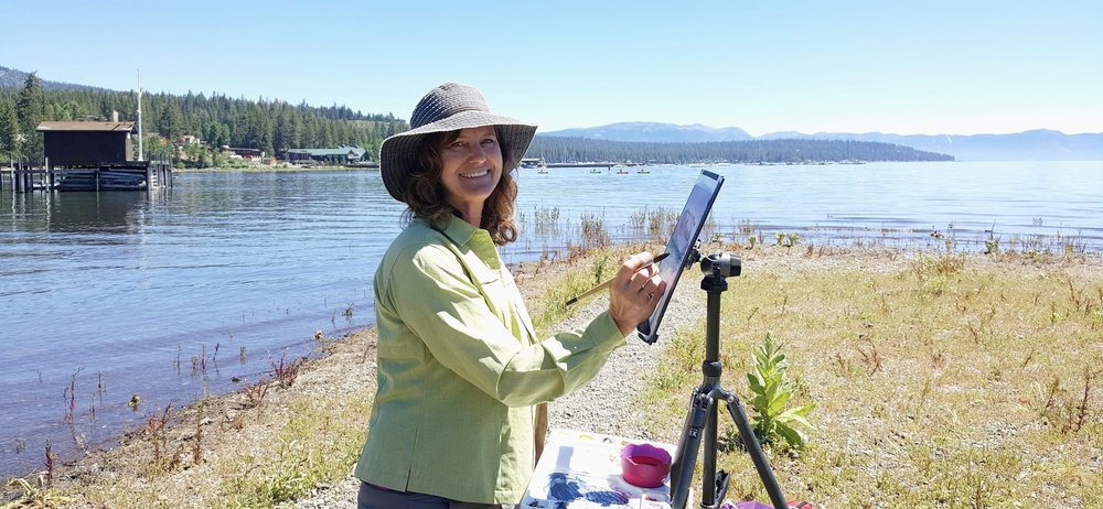 Painting on the shore of Lake Tahoe, California. Good Times!