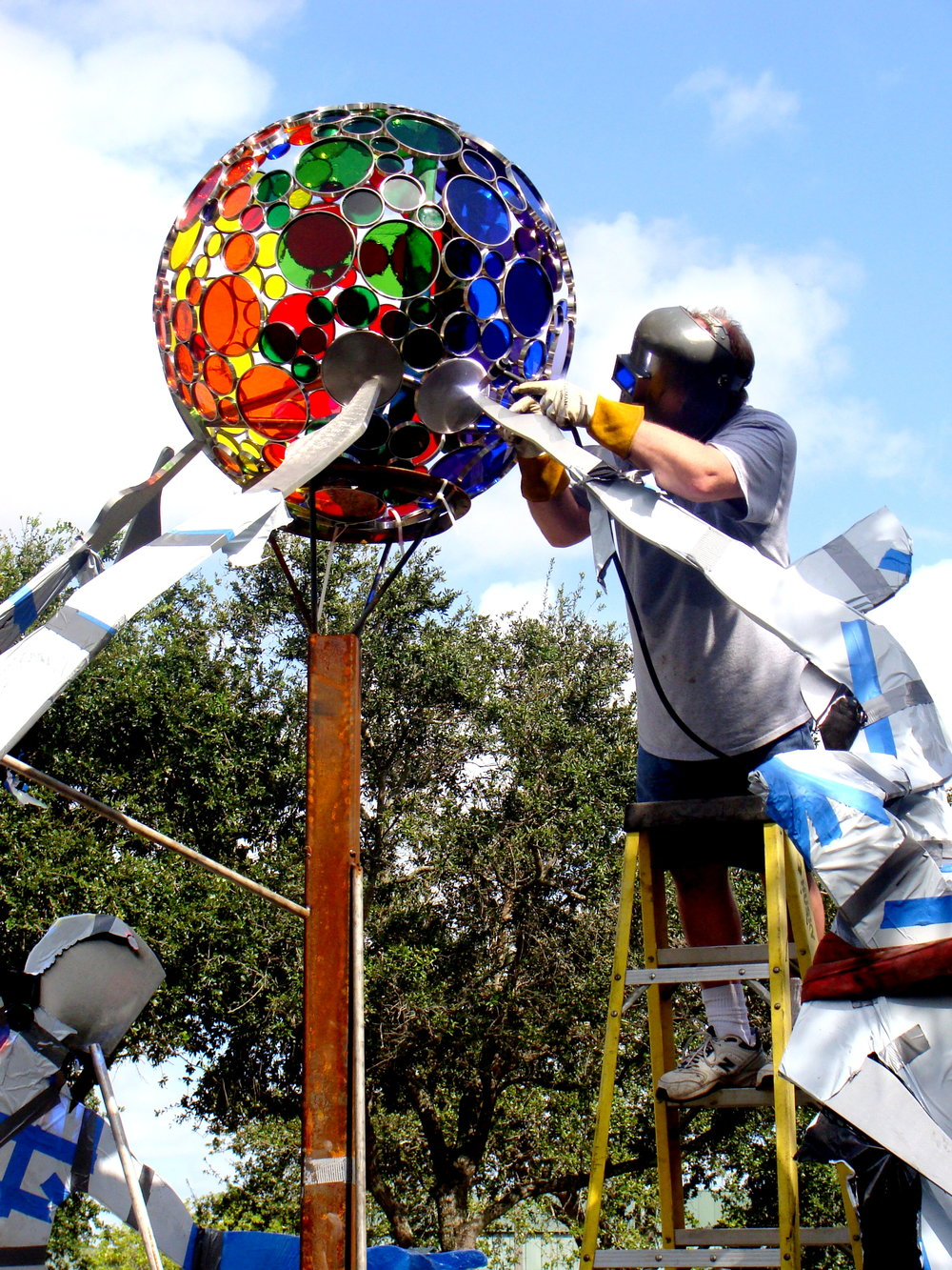 Bob welding the sphere.JPG
