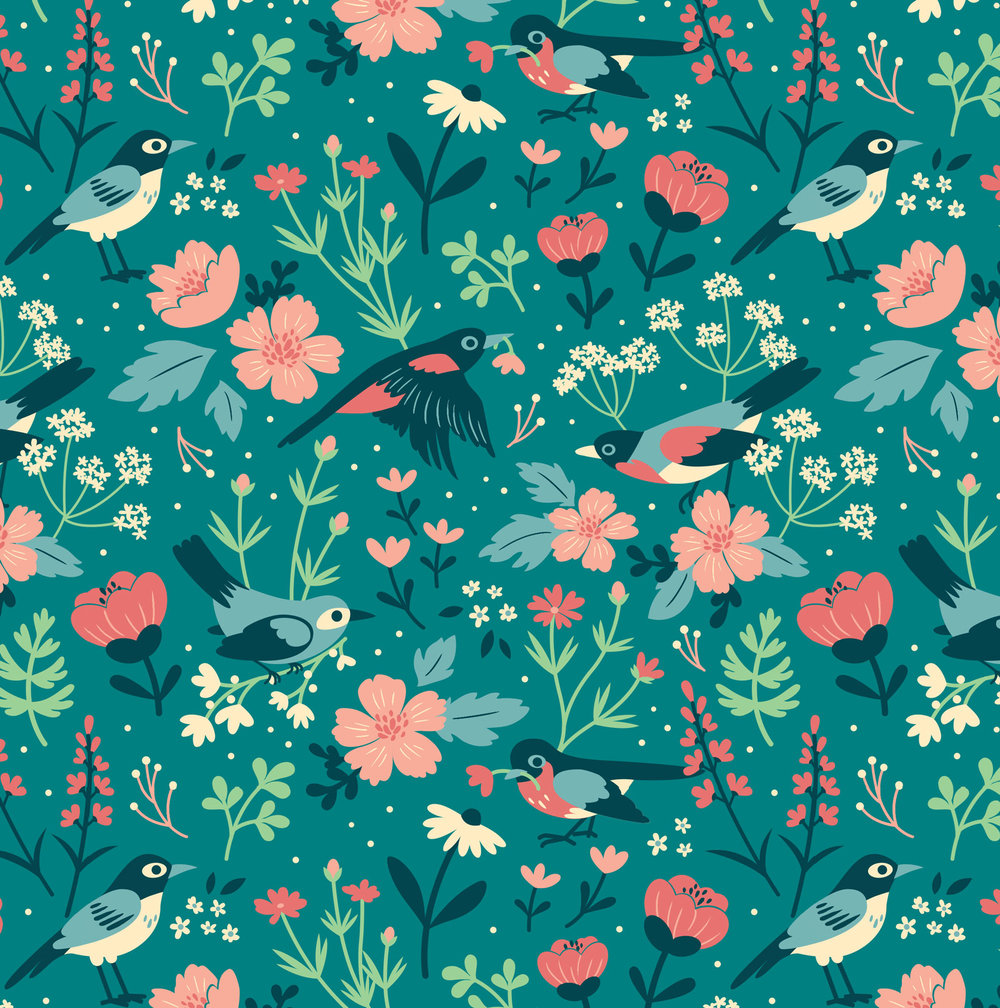 Birds & Blooms (Green)