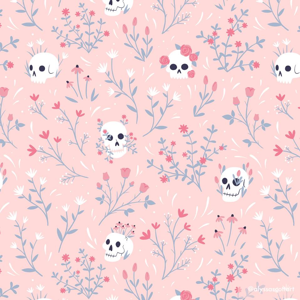 Skull Floral Pink