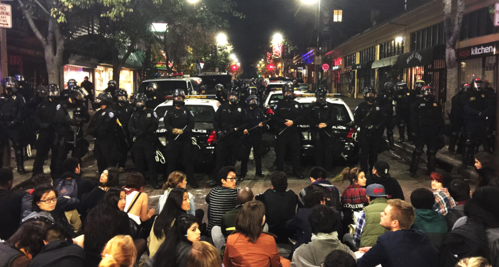 Police protect local storefronts from student protesters