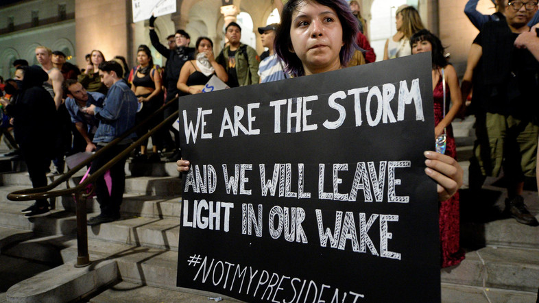 Anti-Trump protesters gathering in Los Angeles following Trump's election.