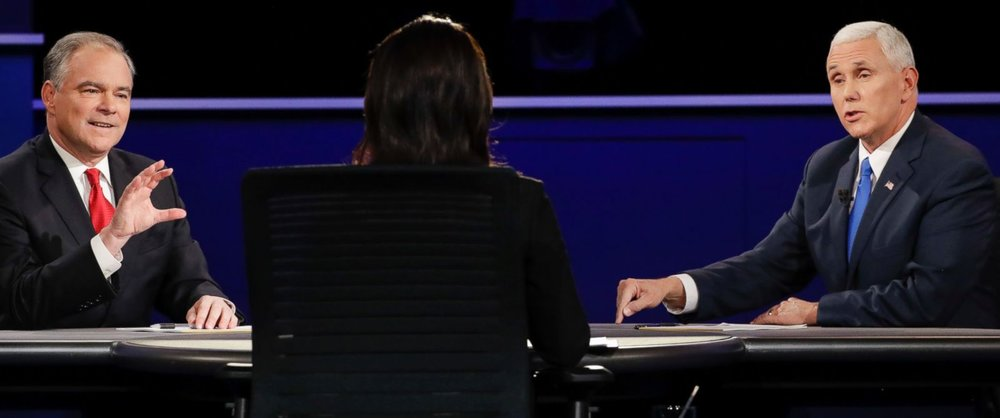 Kaine (left) and Pence (right) square off at the Vice Presidential debate