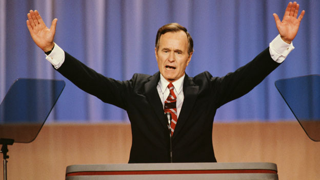 George H. W. Bush delivers his famous campaign promise at the 1988 Republican National Convention