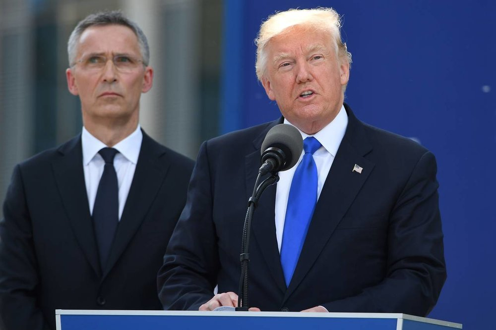 The President harshly criticized fellow NATO members in his speech at the G7 summit last month