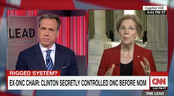 In an interview with CNN's Jake Tapper, Senator Elizabeth Warren (D-MA) admitted that Clinton rigged the nomination process