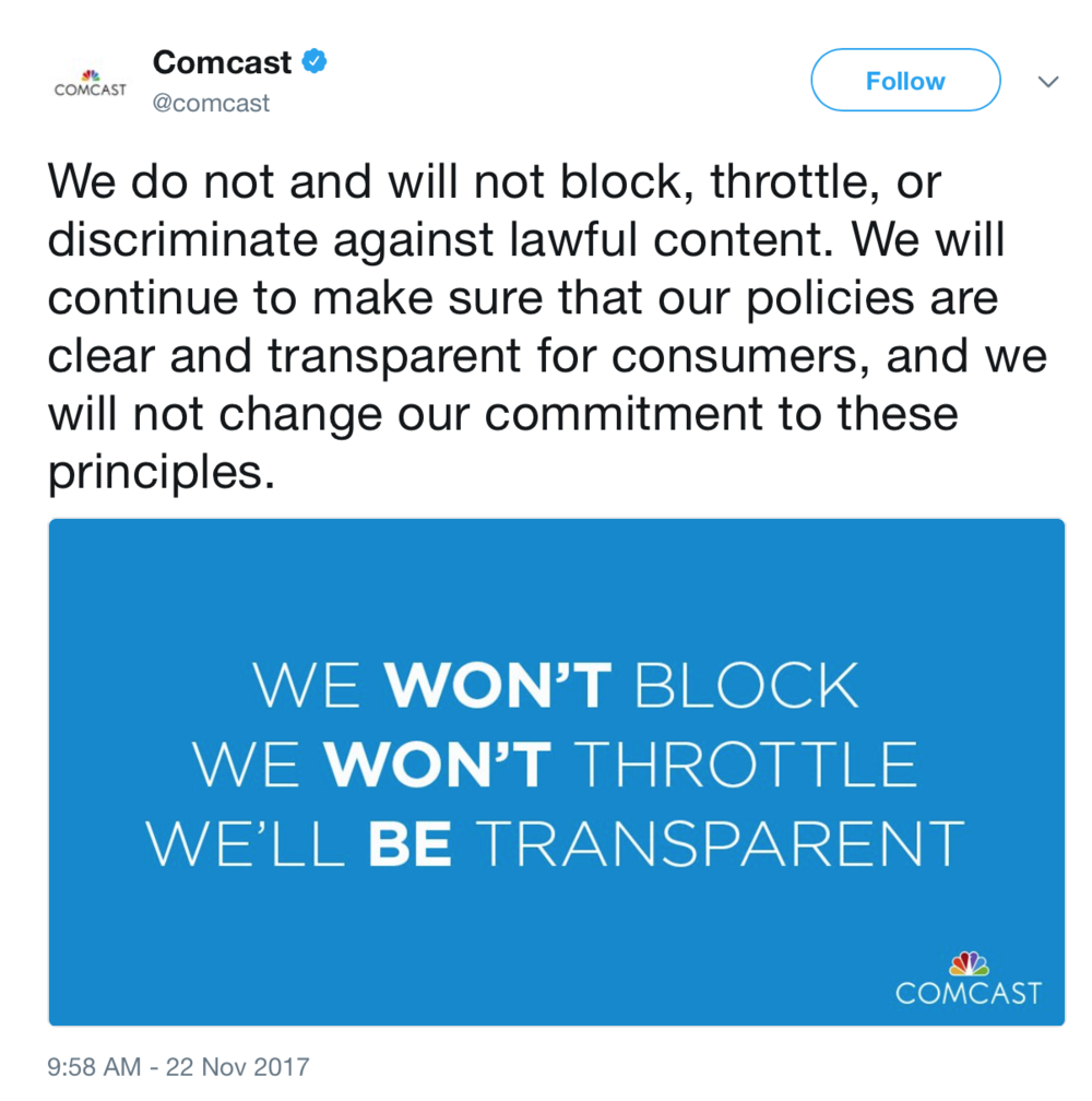 A Comcast promoted tweet stating their commitment to follow Net Neutrality principles in the absence of regulatory incentive