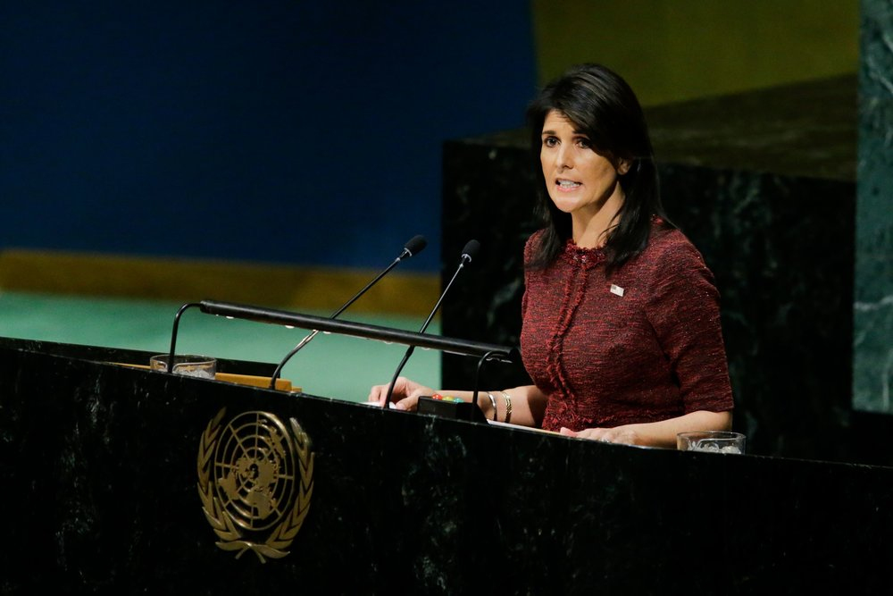 Ambassador Haley adressing the General Assembly before Tuesday's vote