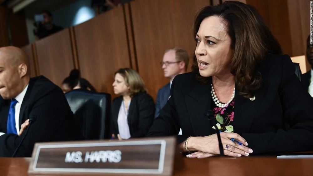 Senator Kamala Harris questions Judge Kavanaugh during confirmation proceedings