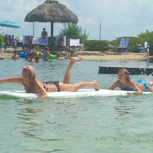 Our victorious mother-daughter paddleboard race.