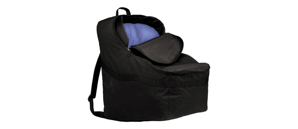 This is the best full sized car seat bag. It's my go-to bag for traveling and the bonus is that you can fit boots and heavy items in with the car seat because it flies free. Save space in your suitcase by using this too!