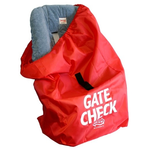 I use this bag for my infant seat when I gate check it before boarding. This folds/wads up perfectly underneath your stroller.