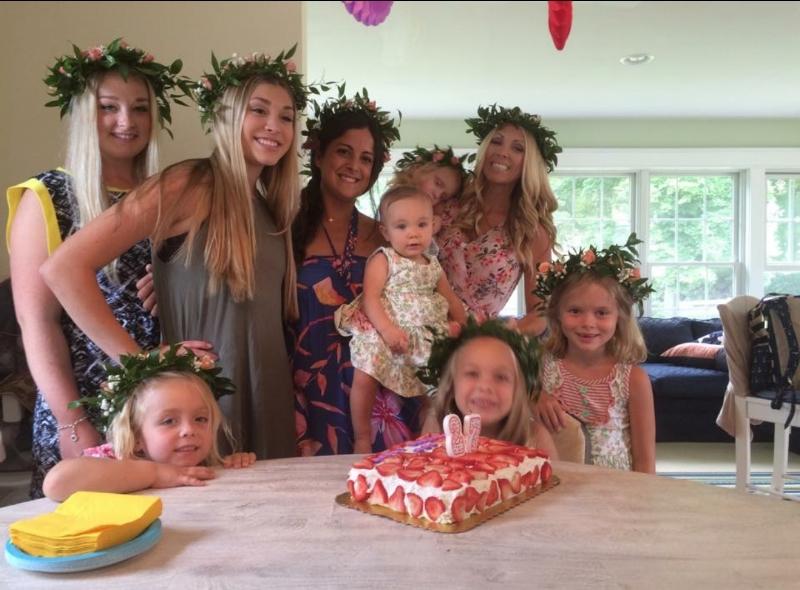 Celebrating Spanish Ana's birthday when Sara returned to visit on the Swedish Midsummer holiday.