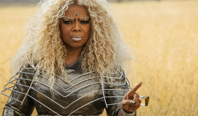 One of Oprah's various transformative looks for a Wrinkle In Time.