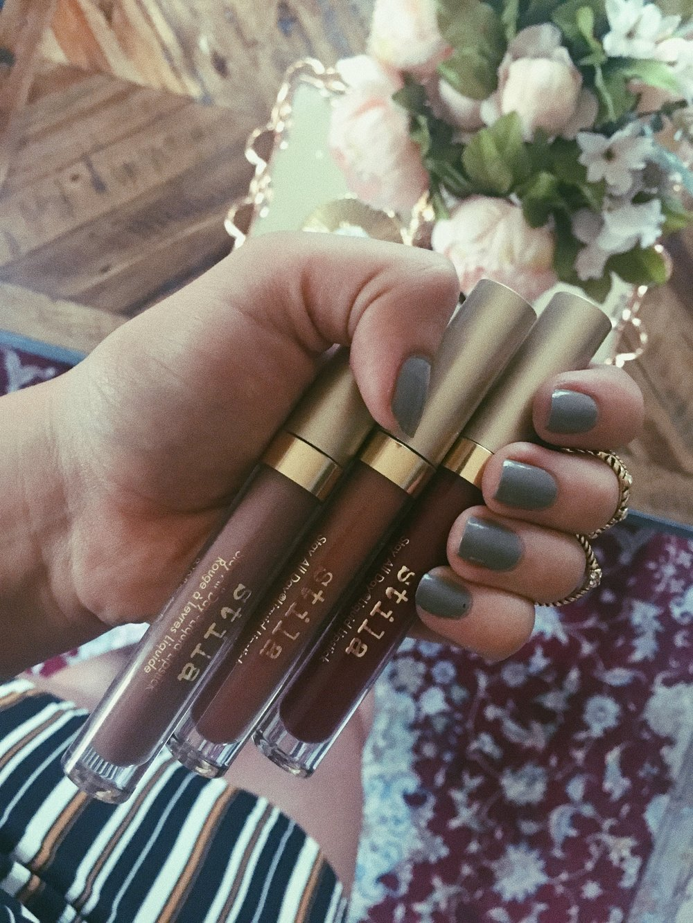 The Stila Stay All Day Liquid Lipsticks in Biscotti, Dolce and Rubino (told you I'm obsessed and collect them)