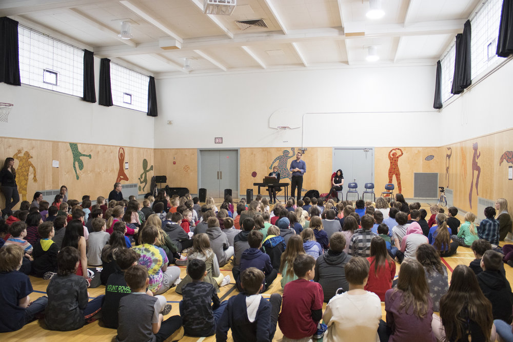 Tenor Kevin Myers performs during a visit to Mount Royal School