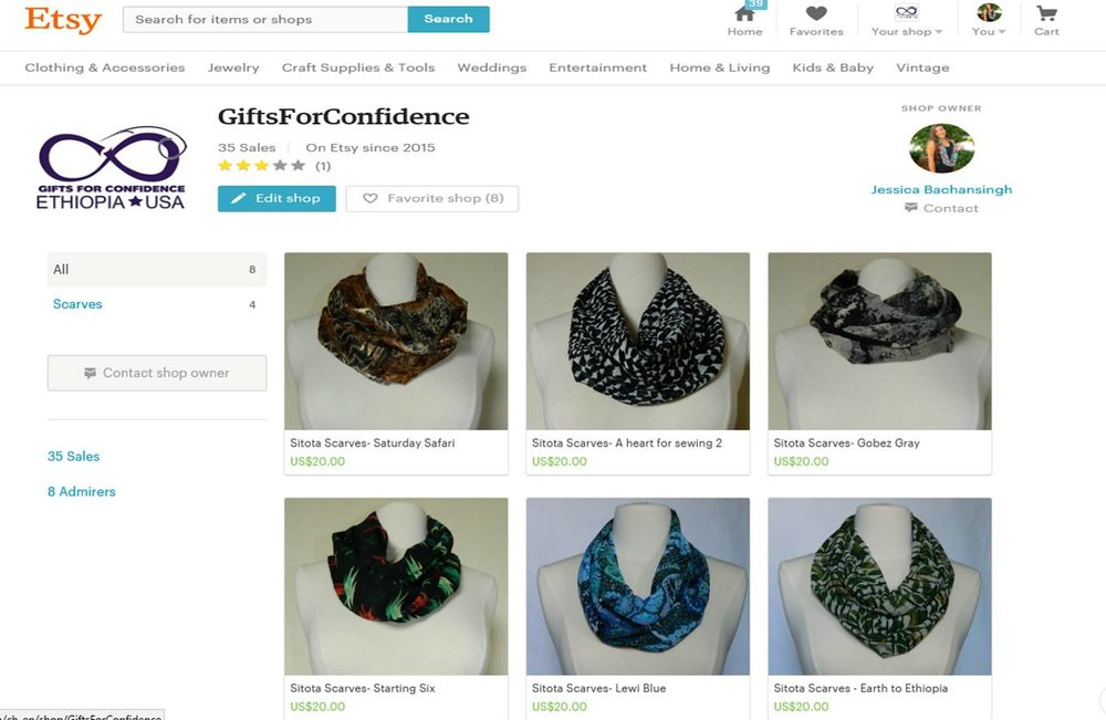 August 2015Opening the Etsy Shop - The inventory was officially for sale. The Etsy account for Gifts for Confidence was open for business the weekend before Jessica went off to college at Florida State University.