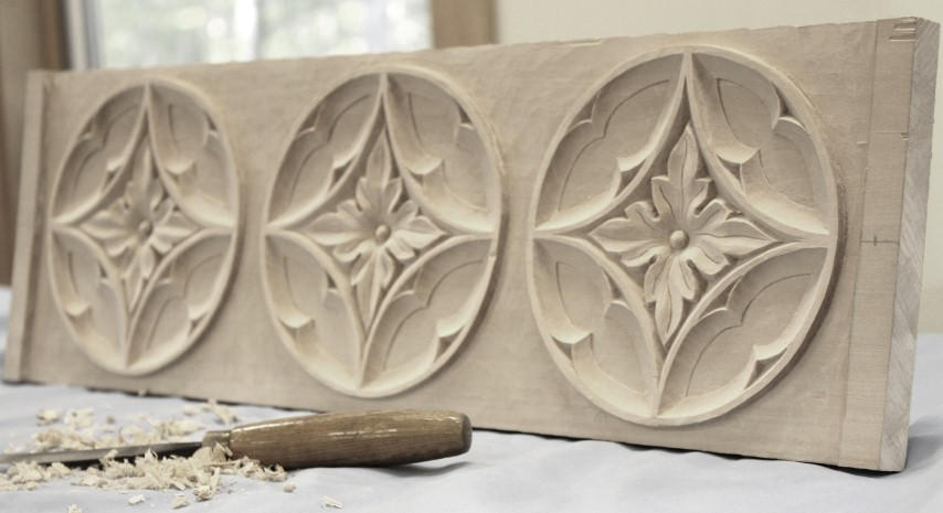 Repeated Gothic Plaque in Basswood