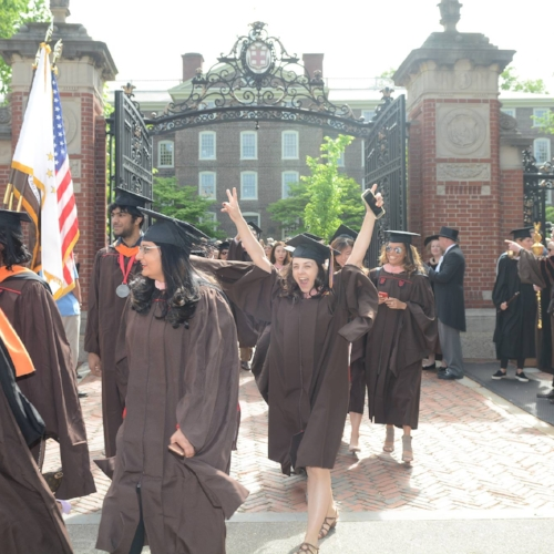 Walking through the Van Wickle Gtes at Graduation