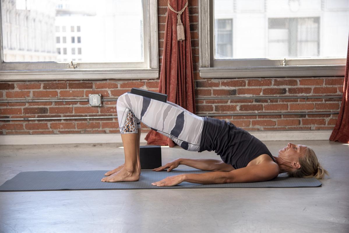 Levoit Yoga Poses Bridge With Yoga Block