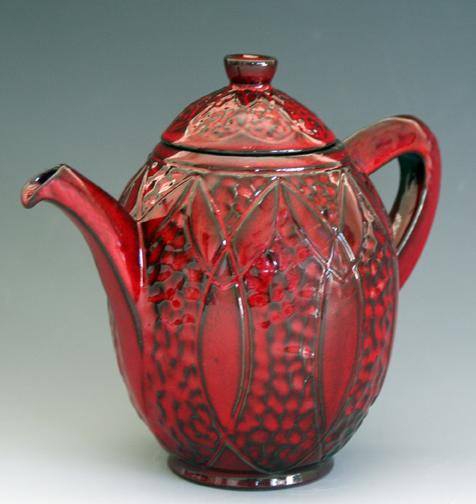 "2010 Kamakura-Red Engraved ""Angel"" Teapot"