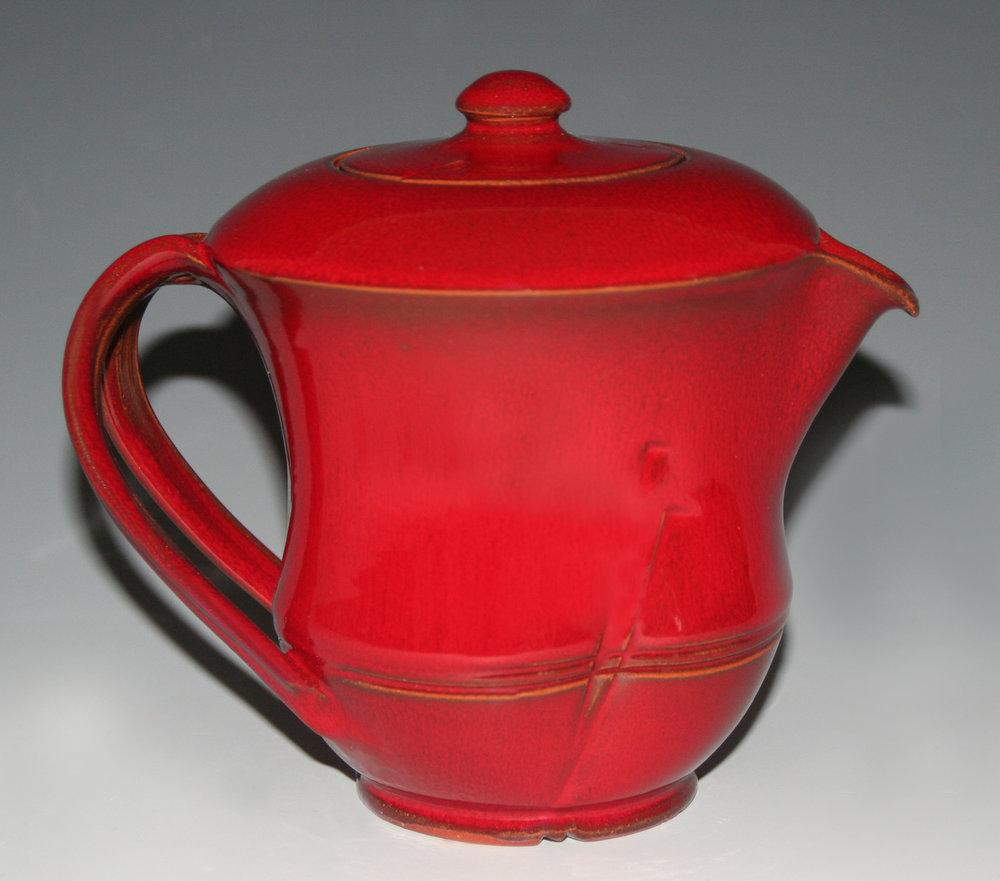 "Kamkura-Red ""Bamboo"" Teapot"