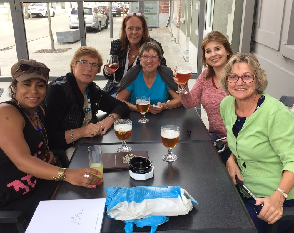 Dinner with Yvetti van den Berg from Netherlands, Martina Dielen from Netherlands, Yocelyne Blanchard from Canada, Karen Loader from South Africa and Monique Braune from Canada.
