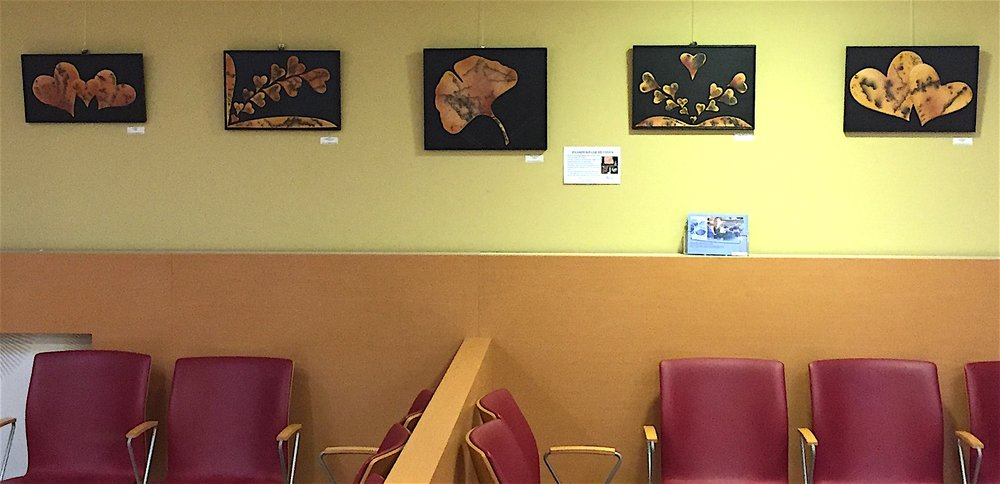 2D Wall Art HEART Raku Horsehair and Gingko in the waiting room.