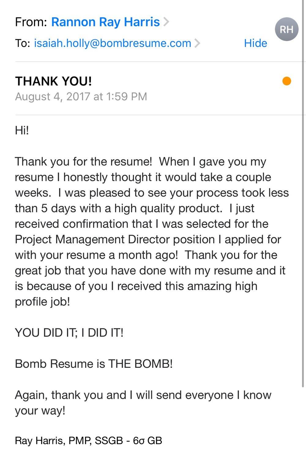 testimonials bomb resume