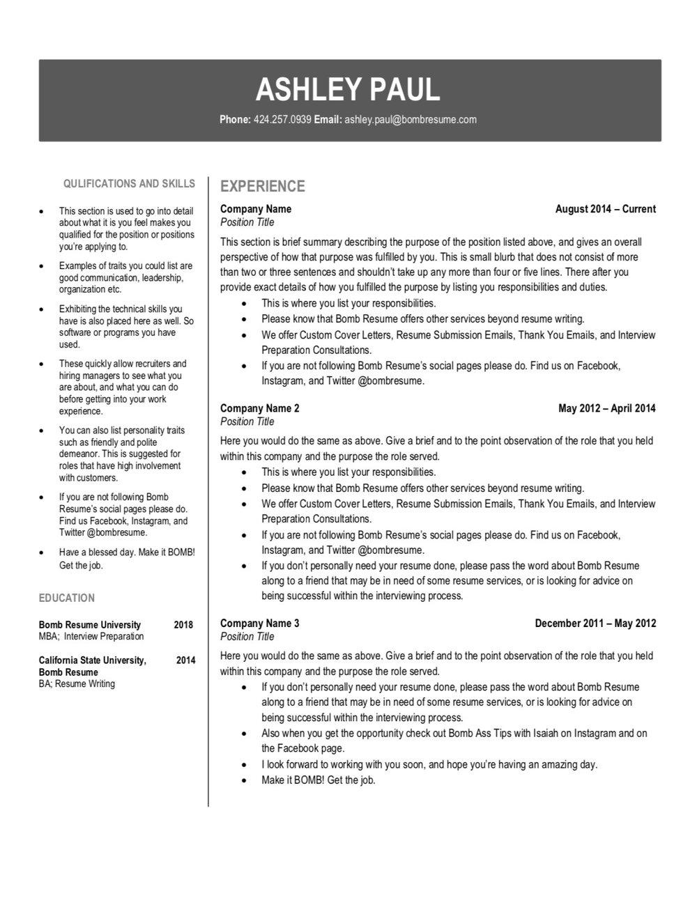 Services — Bomb Resume