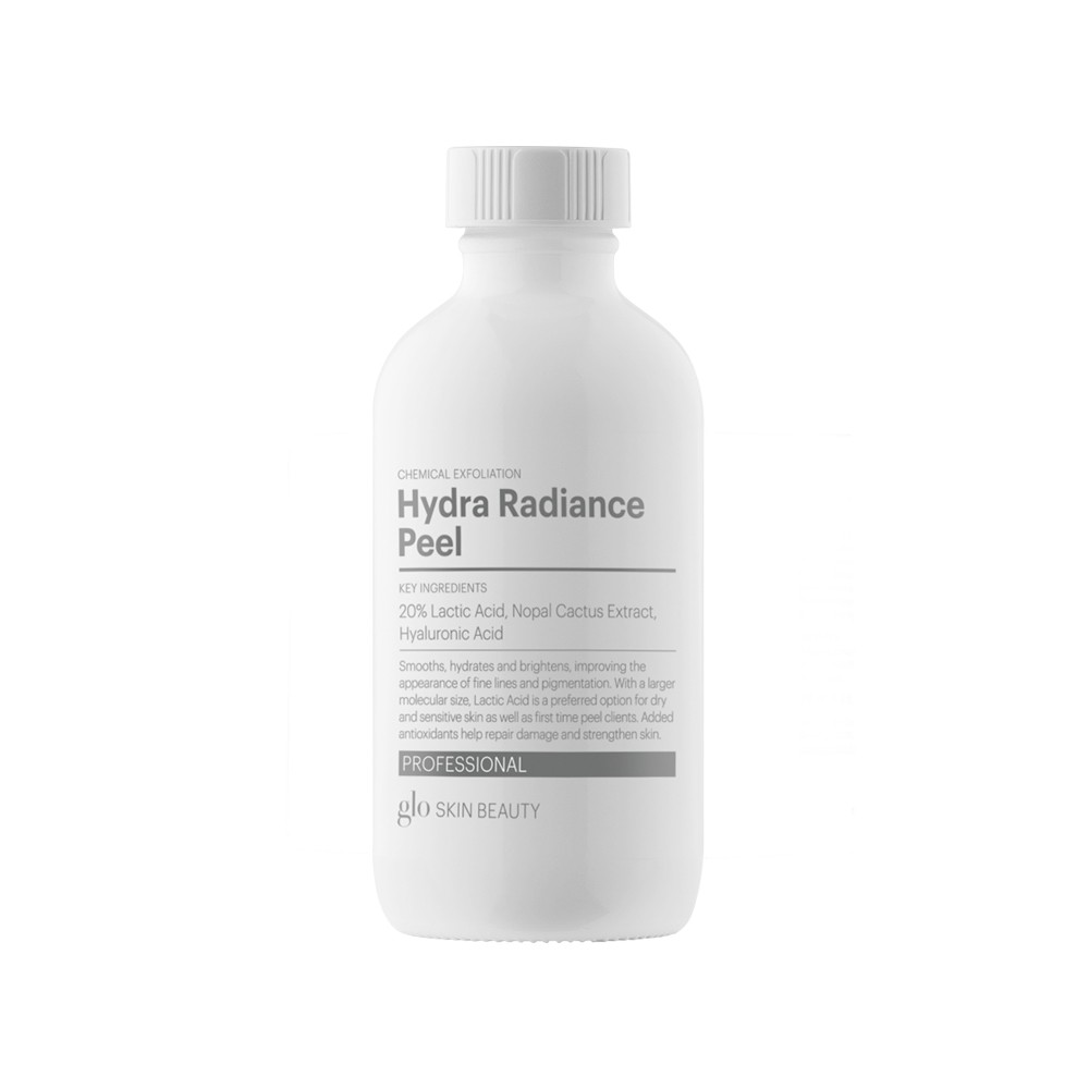 HYDRA RADIANCE PEEL   Smooths, hydrates and brightens, improving the appearance of lines and pigmentation. With a larger molecular size, Lactic Acid is preferred option for dry and sensitive skin as well as first time peel clients. Added antioxidants help repair damage and strengthen skin.