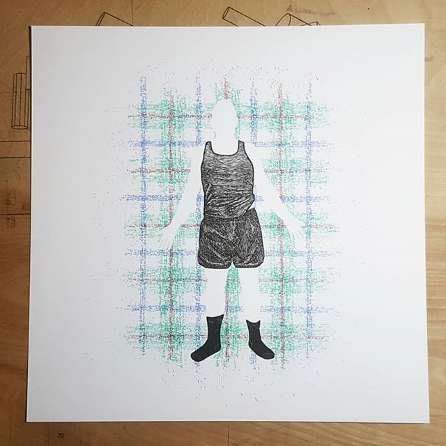 "With the final 2 layers. Sending some of these suckers off to SGCI 2018 for a print exchange. . . ""Maybe I was once a curious lad, but now I'm ever clad in crufty plaid."" linocut and silkscreen 14"" x 14""  #sgci #sgci2018 #screenprint #screenprinting #printscreening #linocut #reliefprint #printmaking #nycartist #irvingprints"