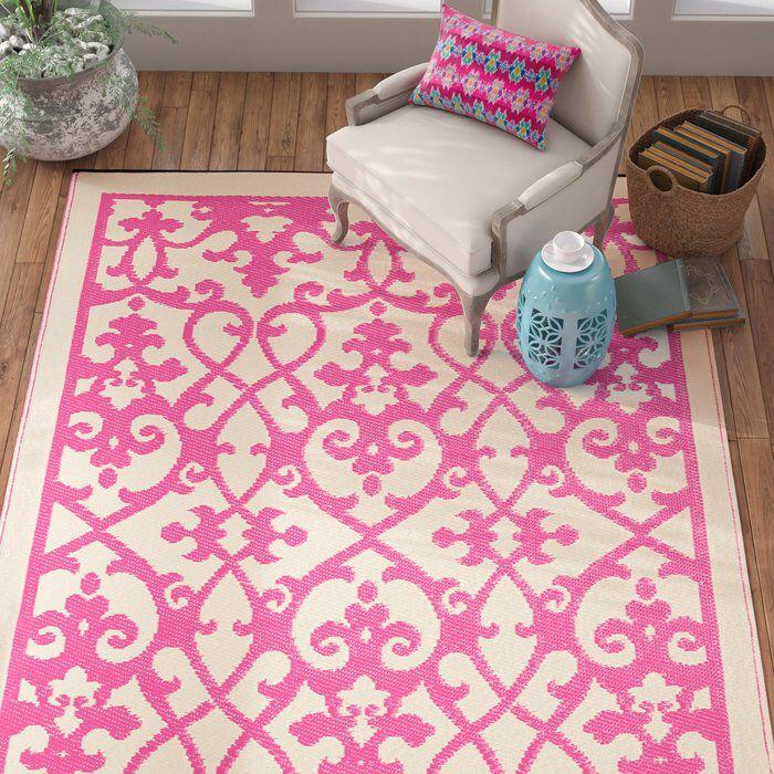 Fontayne Cream & Pink Indoor/Outdoor Area Rug