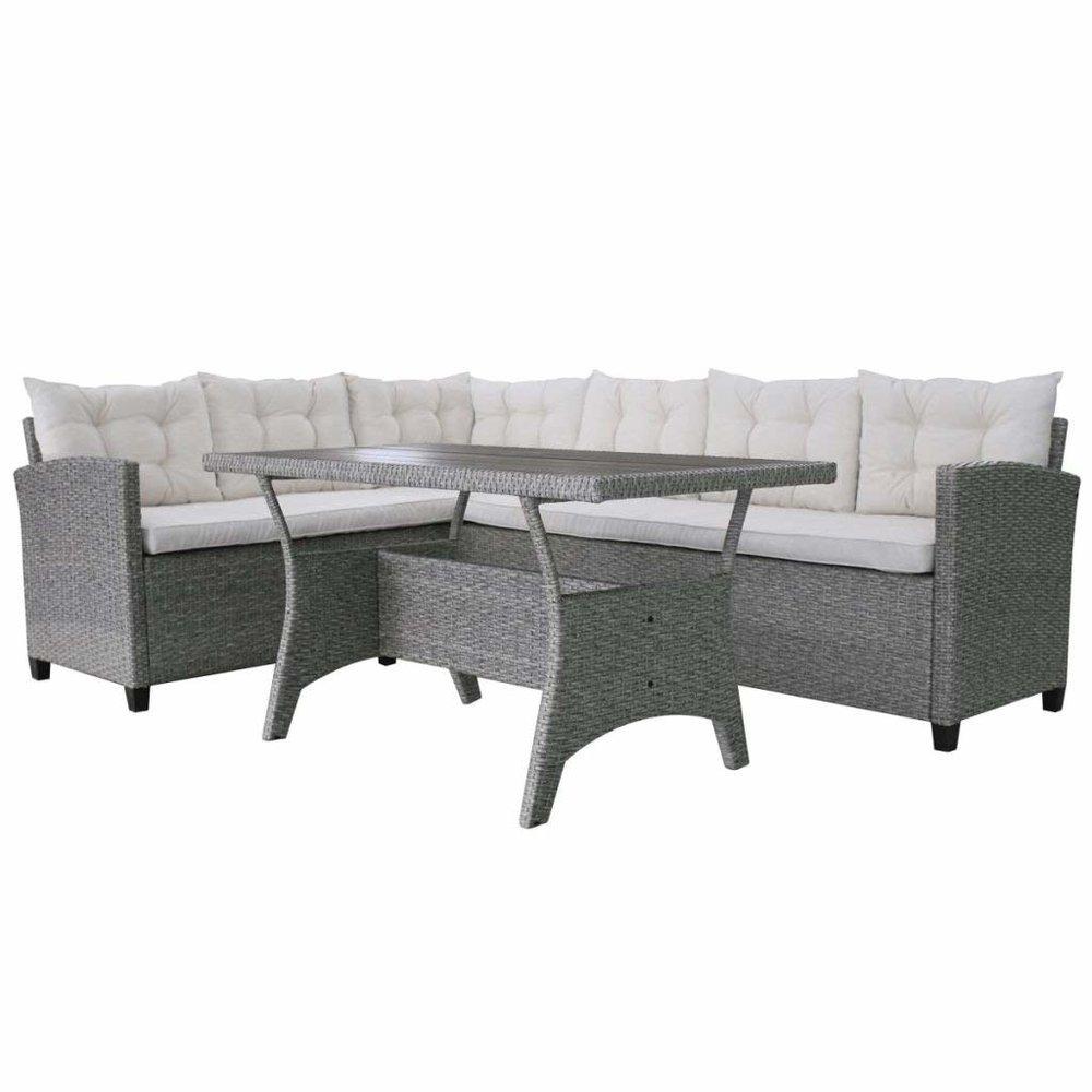 Patio Rattan Garden Wicker Corner Sofa Set Sunbed Relax Lounger Table