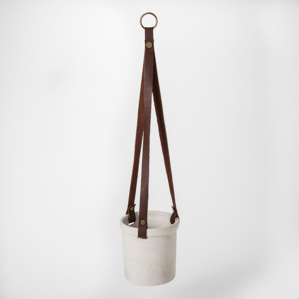 Leather Strap Hanging Pot