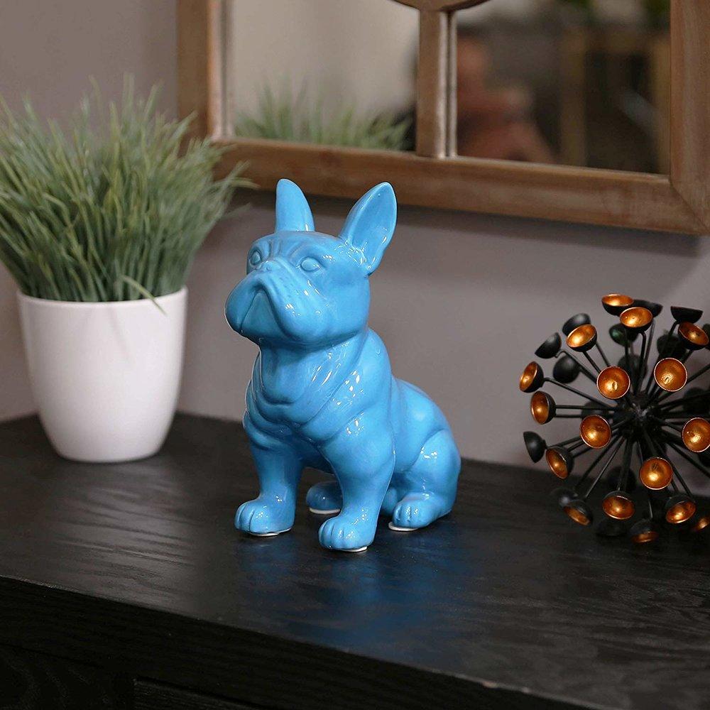 Turquoise Ceramic French Bulldog