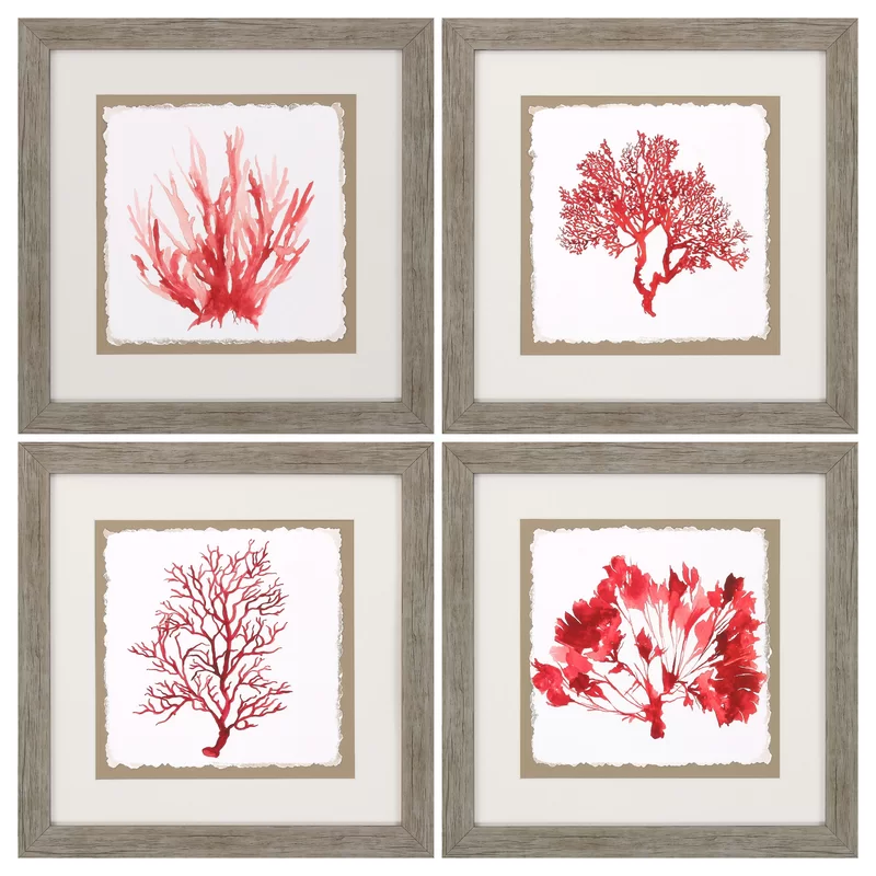 Coral Wall Art Set