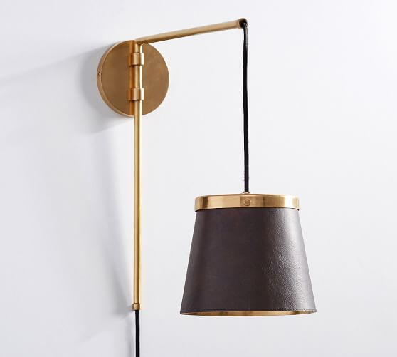 Pottery Barn Leather and Brass Sconce