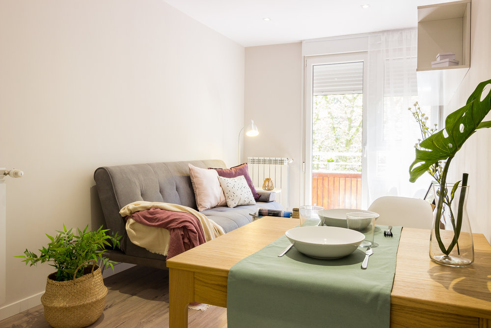 Staged4more Staged Home Tour A Young and Fresh Rental Apartment in Spain After living and dinning area.jpg