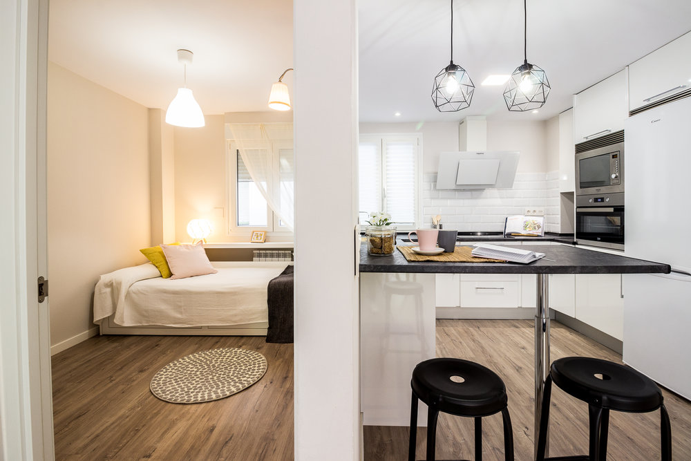 Staged4more Staged Home Tour A Young and Fresh Rental Apartment in Spain After kitchen and bedroom.jpg