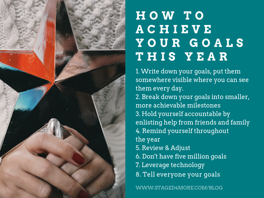 HOW TO ACHIEVE YOUR GOALS THIS YEAR  // Blog post: How to Achieve Your Goals This Year // Staged4more School of Home Staging