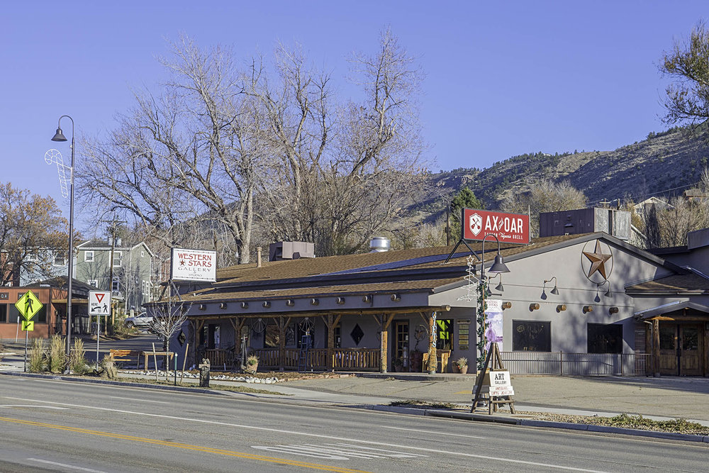 Western Stars Gallery & Studio shares a timber & adobe building with the soon to open Quarry Restaurant (formerly the Ax & Oar) at 160 East Main Street in the franchise-free town of Lyons, Colorado.