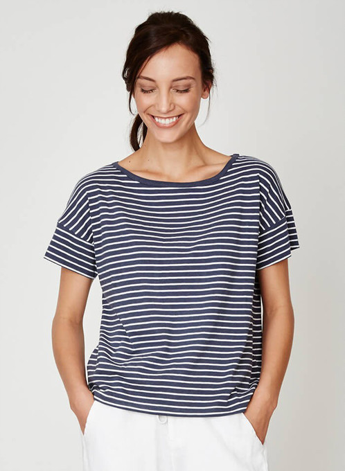 Mary stow stripe hemp jersey t-shirt by Thought Clothing