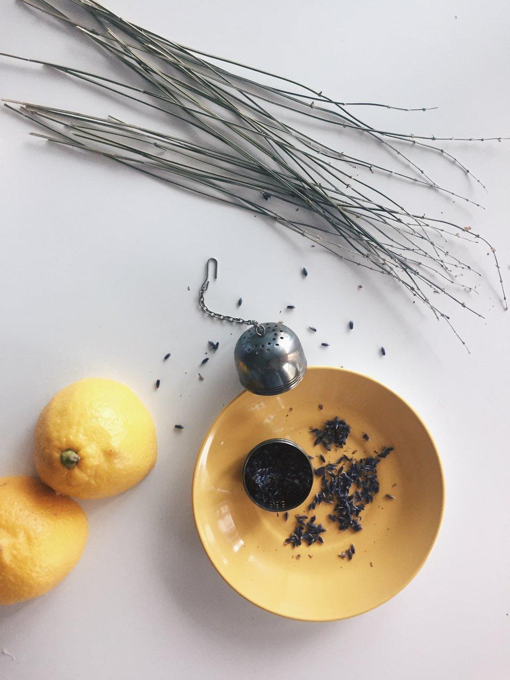 Ingredients for Lemon Lavender Syrup