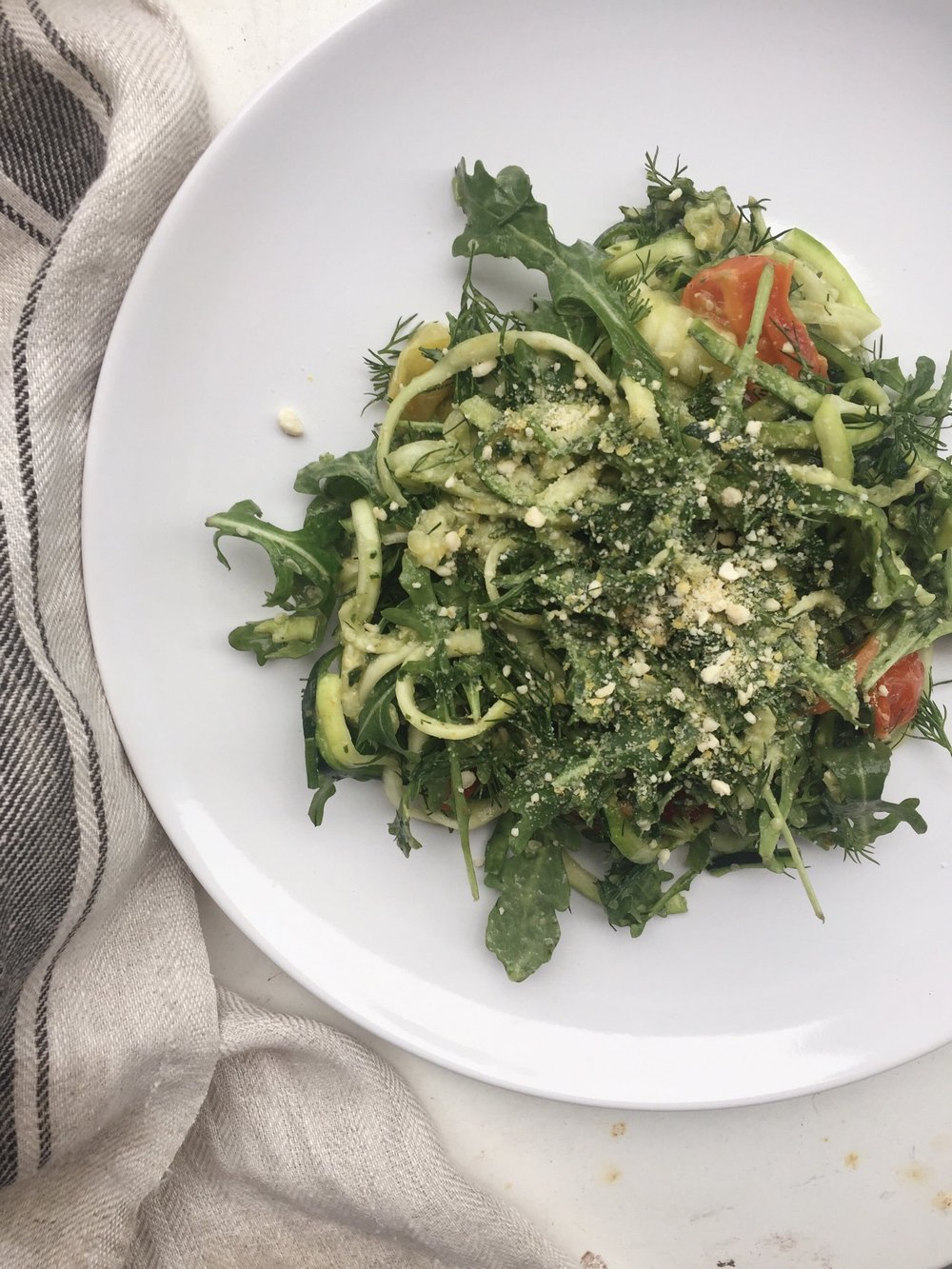 whole 30 green goddess zucchini noodle pesto bowl.JPG
