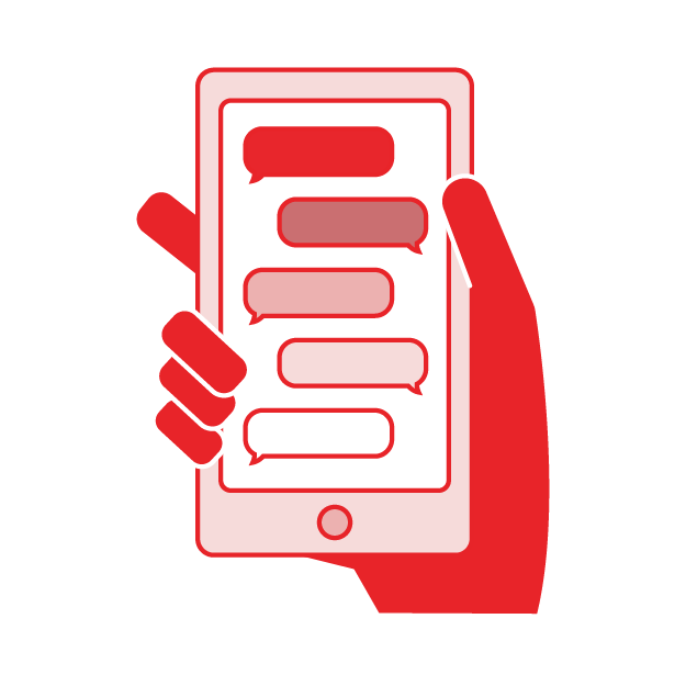 The Crisis Counselor listens without judgment, invites you to share more, and helps you move from a hot moment to a cool calm. You'll text back and forth, sharing only what you feel comfortable.
