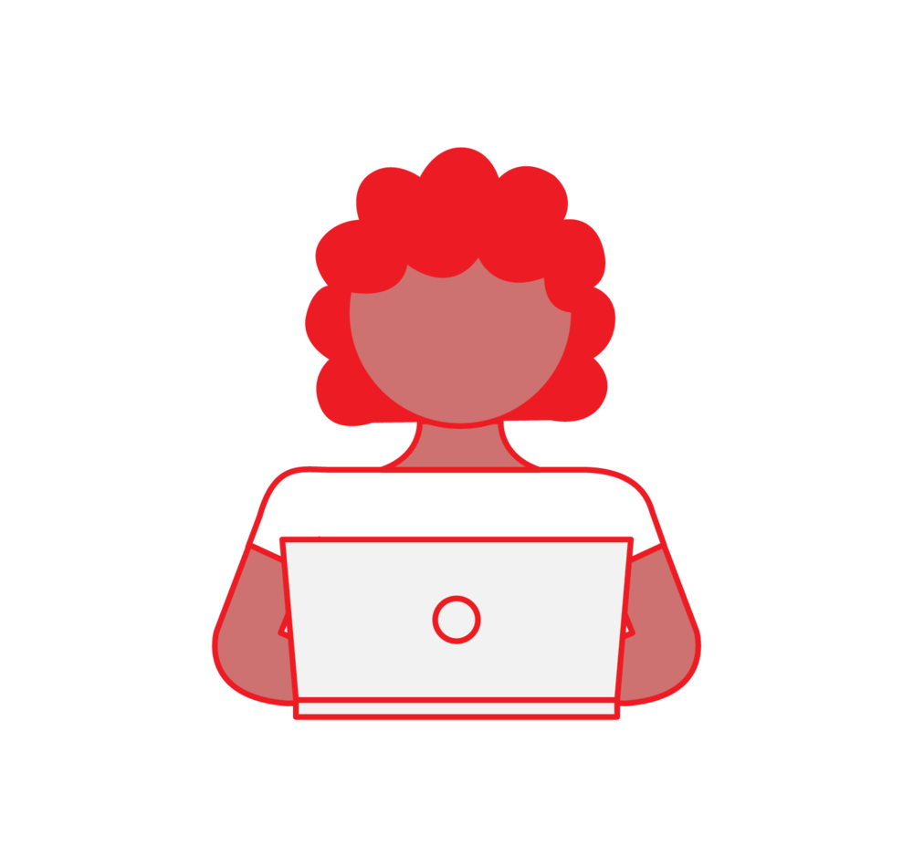 Woman with Curly Hair on Laptop