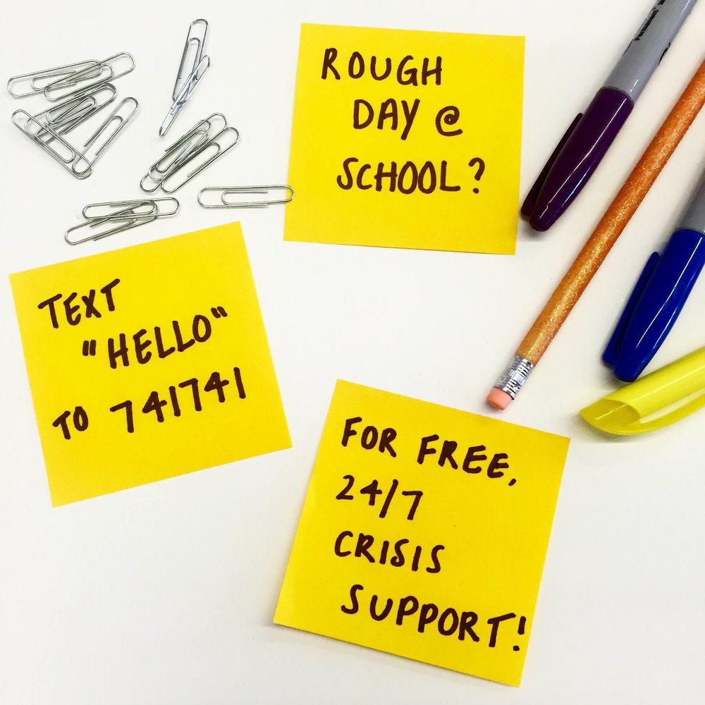 Text HELLO to 741741 - school image