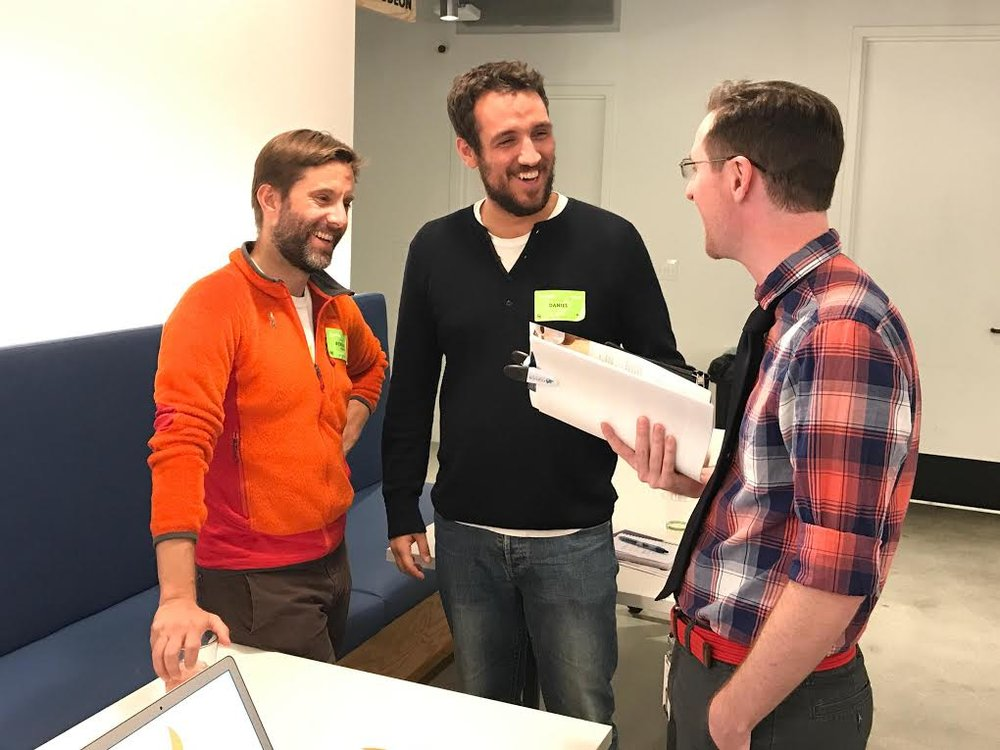 Co-founders Benjamin Stingle and Daniel Pourasghar talk Campfire at Airbnb Health & Wellness fair.